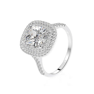 Hellojewelr Sterling Silver Double Halo Cushion Cut Engagement Ring