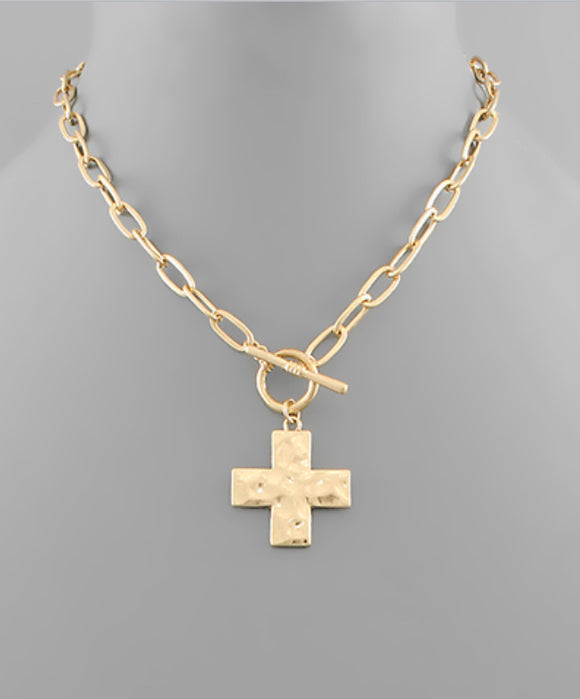 Hammered Cross Toggle Necklace