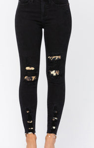 Plus Black Leopard Patch Jeans