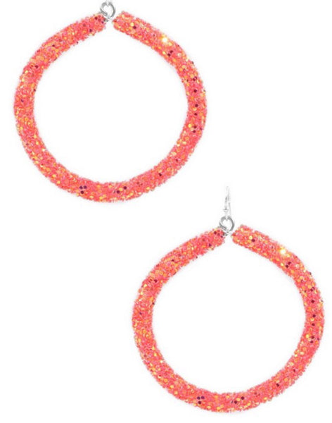 Glitter Hoop Drop Earrings