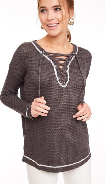 Heather Grey Lace Up Sweater