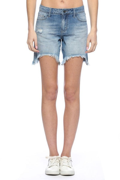 Medium Blue Distressed Bermuda Shorts