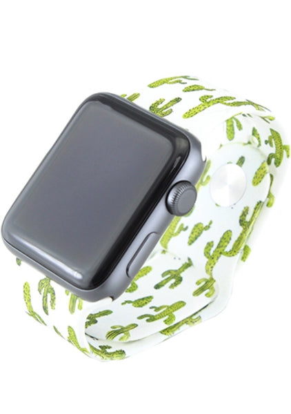 Green/White Cactus 42 MM M/L Apple Watchband
