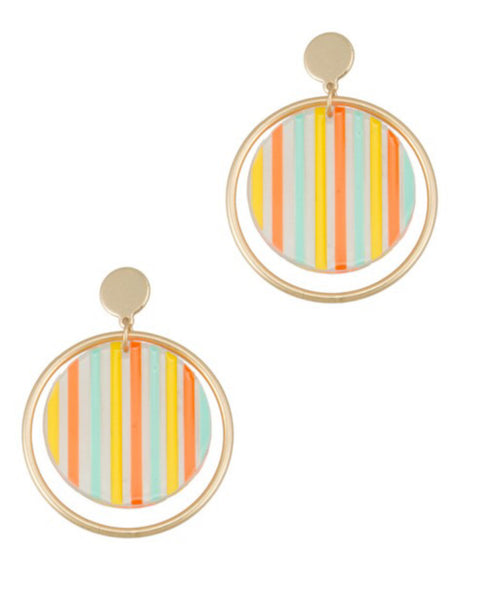 Striped Round Dangle Earrings
