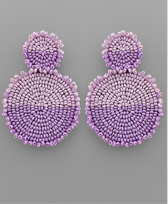 Two Tone Lavender Beaded Disc Earrings
