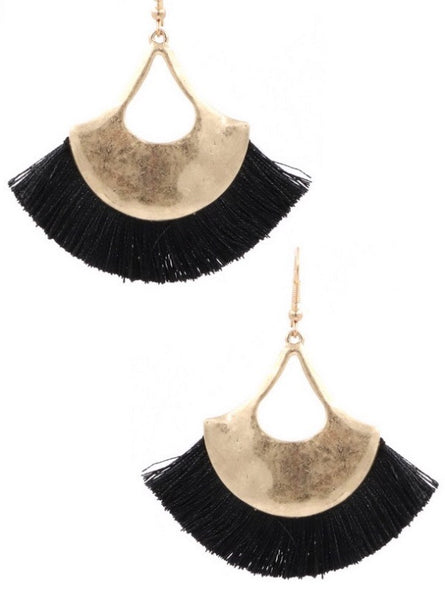 Fall Metal Cotton Fringe Earrings
