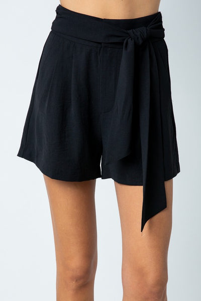 Black Short With Front Tie