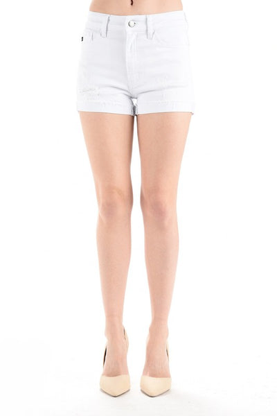 Taylor Noelle White Cuffed Distressed Shorts