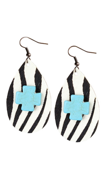 Zebra/Turquoise Cross Dangle Earrings