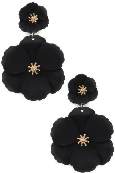 Matte Flower Drop Earrings