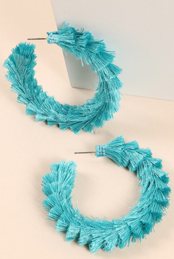 Open Hoop Earrings With Tassels