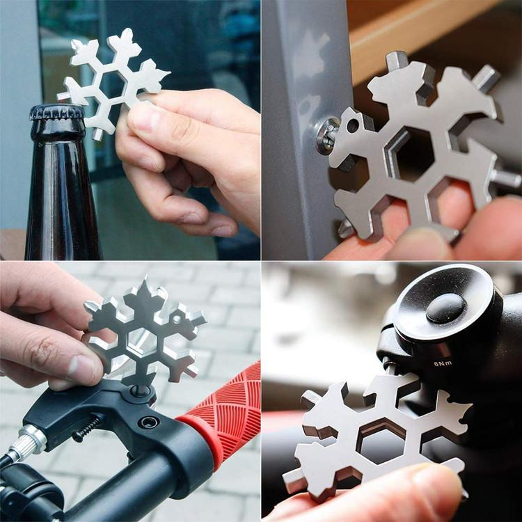 18 in 1 Stainless Steel Snowflake Multi Tool Keychain