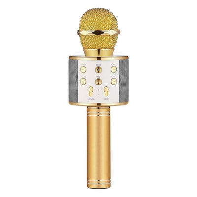 Gold bluetooth karaoke microphone