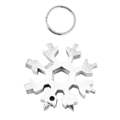 18 in 1 Stainless Steel Snowflake Multi Tool Keychain - Silver