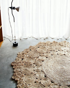 JUTE ROUND RUG 180 CM Natural Handmade Hemp Carpet