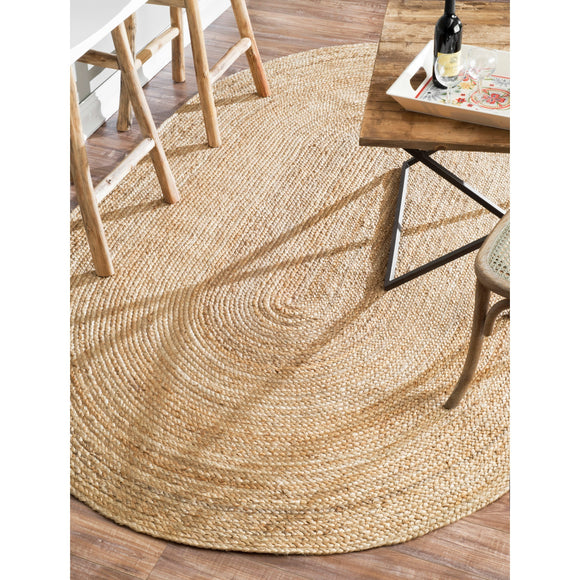 JUTE OVAL RUG 243 x 150 CM Natural Hemp Carpet