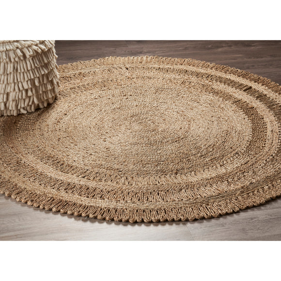 JUTE ROUND RUG 150 CM Natural Handmade Hemp Carpet