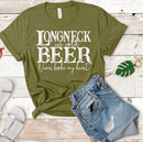 Long neck ice cold beer screen print white *B8