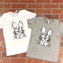 "6.5"" wide bunny with glasses screenprint"