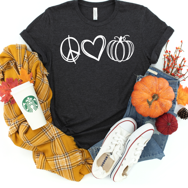 Peace love pumpkin white screenprint