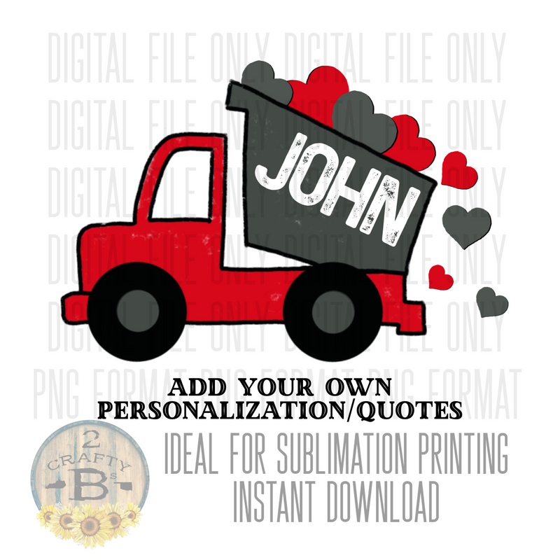 DIGITAL DOWNLOAD PNG-dump truck with hearts