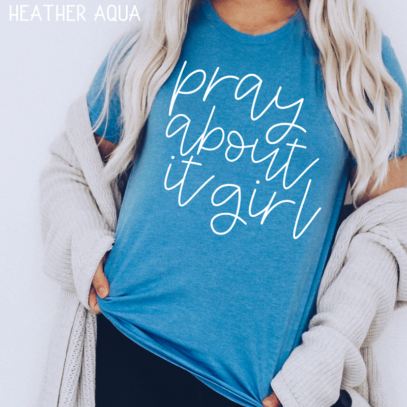 Pray about it girl white screenprint