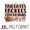 Pink background football y'all DIGITAL DOWNLOAD