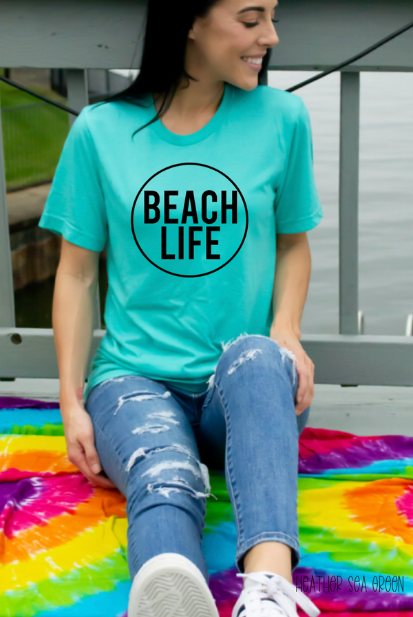 Beach Life Circle black screenprint