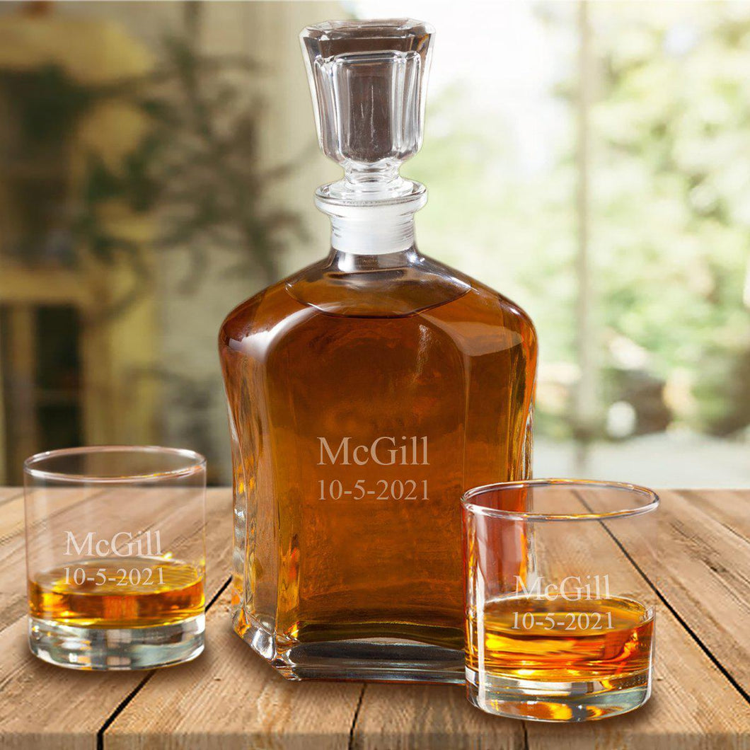 Personalized Decanter Set with 2 Low ball Glasses