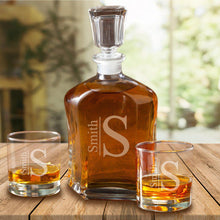Load image into Gallery viewer, Personalized Decanter Set with 2 Low ball Glasses