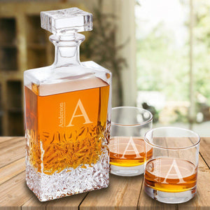 Personalized Kinsale Rectangular 24 oz. Whiskey Decanter - Set of 2 Lowball Glasses