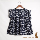 Pleated doll shirt with swan pattern