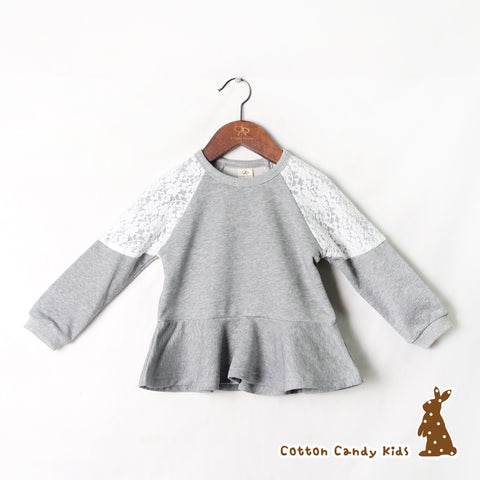 Flare Sweatshirt with lace patch