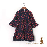 Floral dress with frilled sleeves