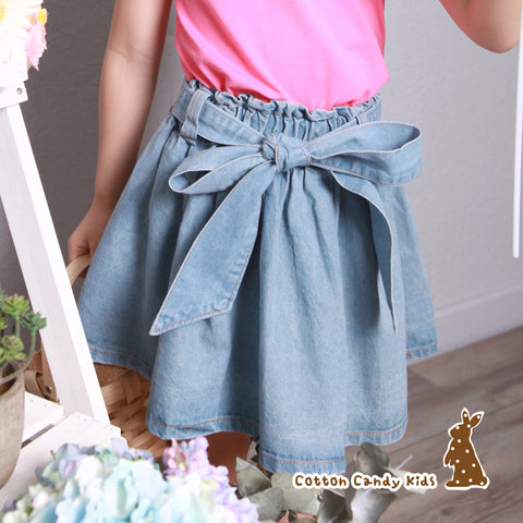 Big ribbon denim skirt