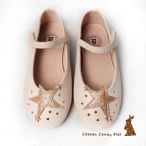 Cream-Colored Star Flat Shoes