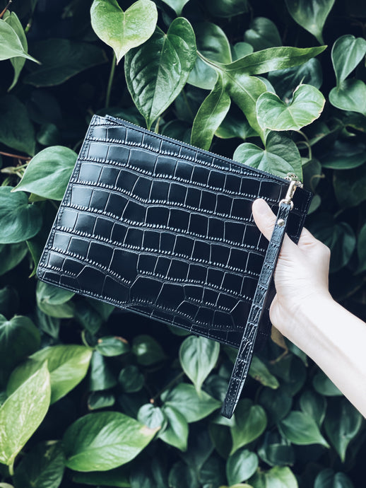 Montreal Leather Clutch - Jet Black Mock Croc