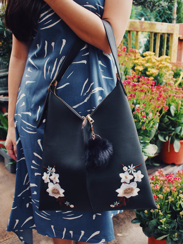 Shanghai Floral Embroidery Tote - Black