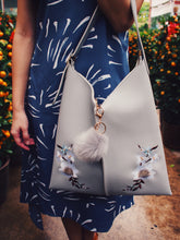Shanghai Floral Embroidery Tote - Grey