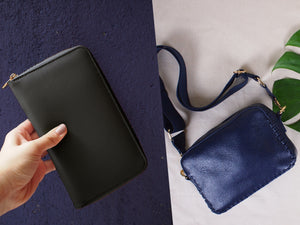 BUNDLE: Prague Crossbody Bag Midnight Blue & Copenhagen Wallet Black