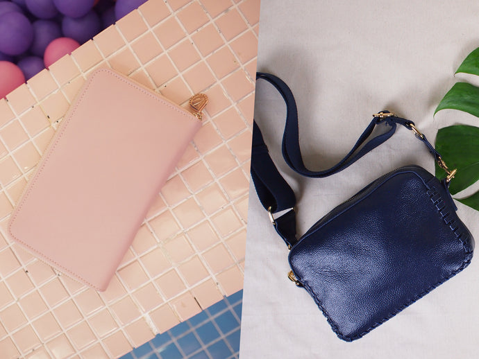 BUNDLE: Prague Crossbody Bag Midnight Blue & Copenhagen Wallet Blush Pink