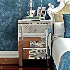 Sparkly Mirrored Crushed Crystal Bedside Table Cabinet