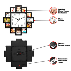 CLOCKTOUCH® Creative Battery Operated Wall Clock For Home & Kitchen With Unique Photos Frame Design