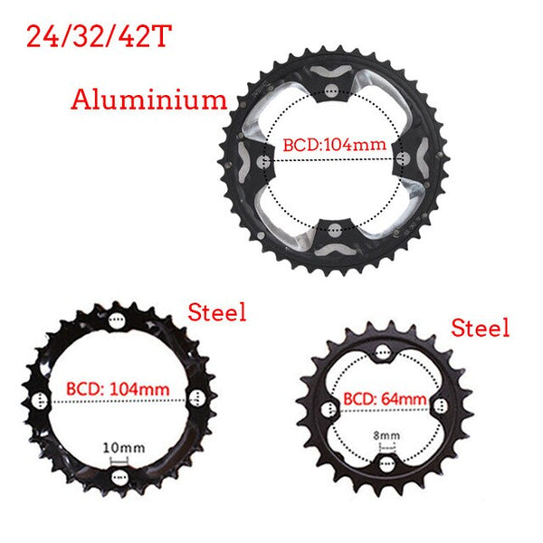 FMFXTR MTB Bike Crankset 24T 32T 42T Chainring 64/104BCD 170mm Crank Steel Mountain Bikes Road Bicycle Parts Accessories