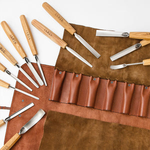 Wood carving tools set for relief carving in leather case, 12pcs STRYI