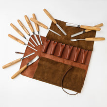 Load image into Gallery viewer, Wood carving tools set for relief carving in leather case, 12pcs STRYI