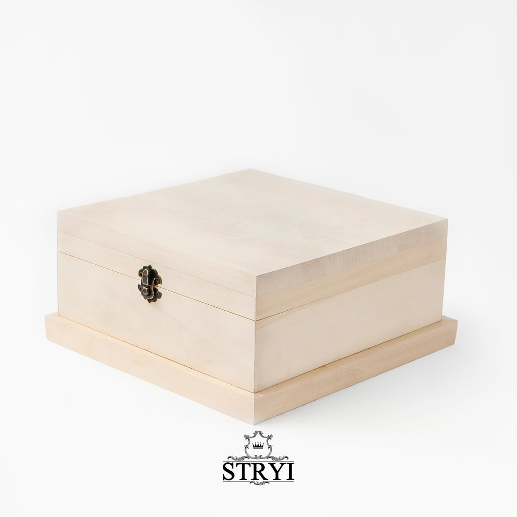 Wooden box, woodcarving blank with fittings, workpiece wood carving lime jewelry box, blank for carving, scrap-booking, creativity, art