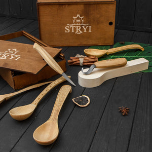 Spoon carving tools set 2pcs in wooden box  STRYI
