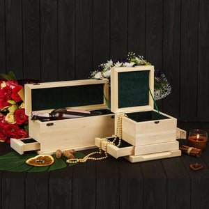 Basswood blank of jewelry box with secret sections for wood carving decoration, scrapbooking or another