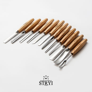 Wood carving tools set for relief carving 12pcs STRYI